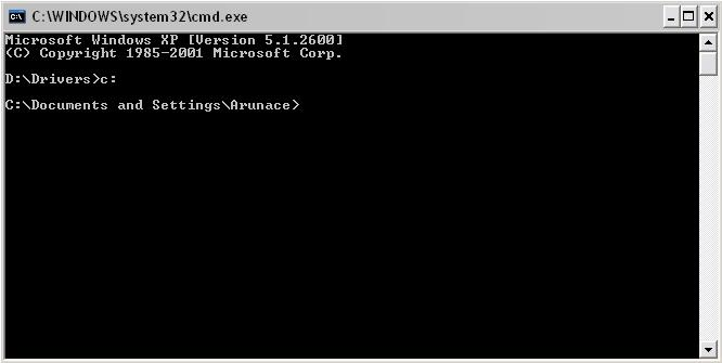 changing the command prompt to c: